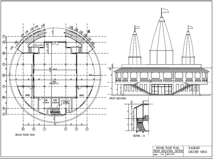 Drawing Layout of Maa Kali Temple